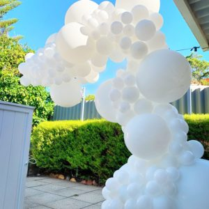 All white balloon garland by Stylish Soirees Perth_