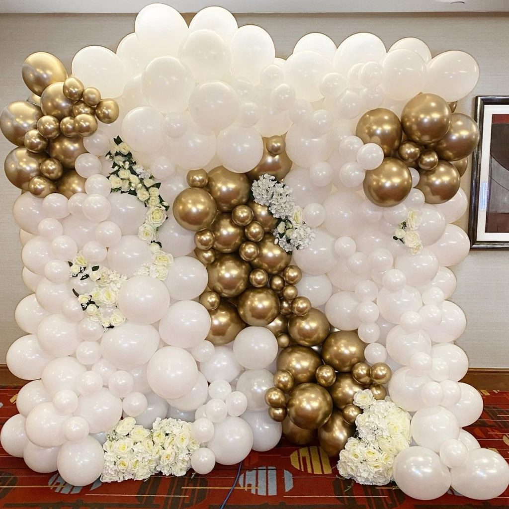 White and gold balloon wall